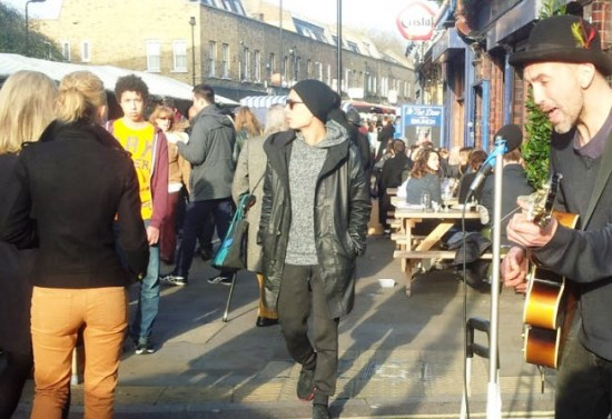 Enjoying the delights of Broadway Market, London