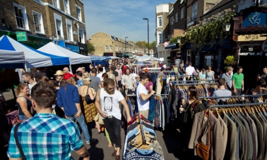 Broadway Market in Hackney attracts a hip community