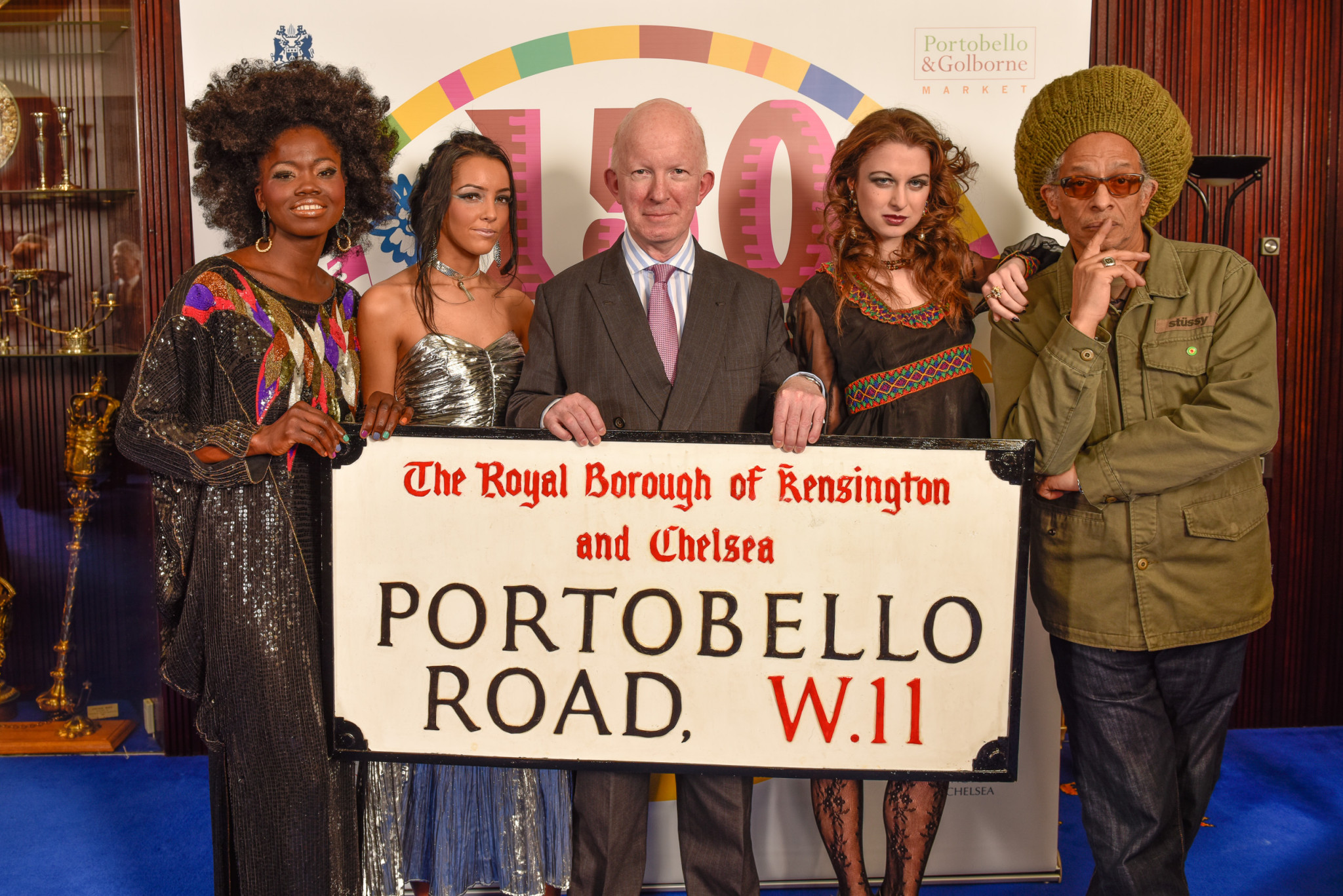 Celebrating 150 years of Portobello and Golborne Road Markets. Models wearing vintage from Portobello traders. Council Leader Cllr Nick Paget-Brown (middle), Donn Letts (right) photo press launch