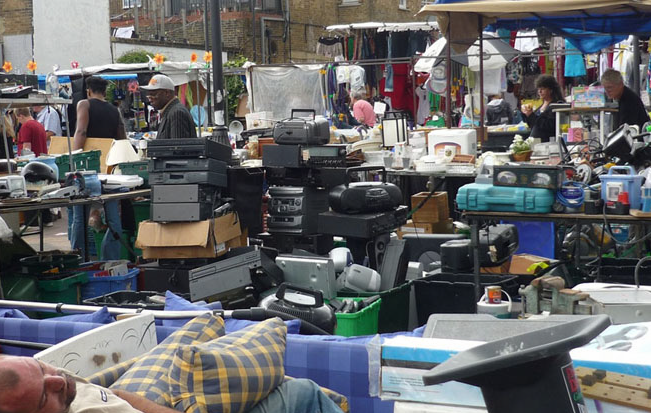Shifting through the junk at Deptford Market