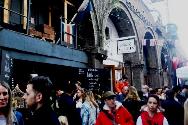 Making your way through the crowds at Rope Walk, Maltby Street Market