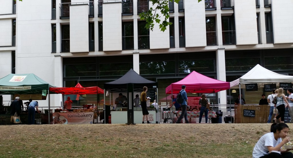 Food stalls at South Kensington Farmers Market Imperial College