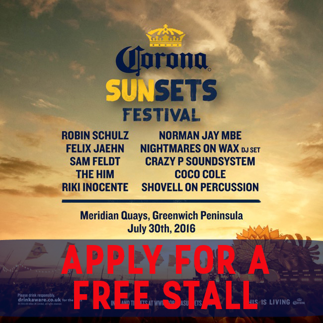 Corona Sunset Festival Greenwich apply for a free stall