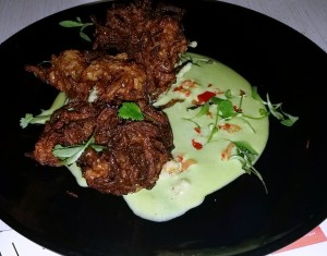 Onion Fritters with Jalapeno Mayo at The Lodge Clapham. Read the foodie review