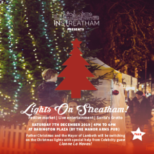 Dec 7th at Streatham. Free grotto and live entertainment